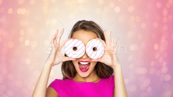 Stockfoto: Gelukkig · vrouw · tienermeisje · naar · donuts · mensen