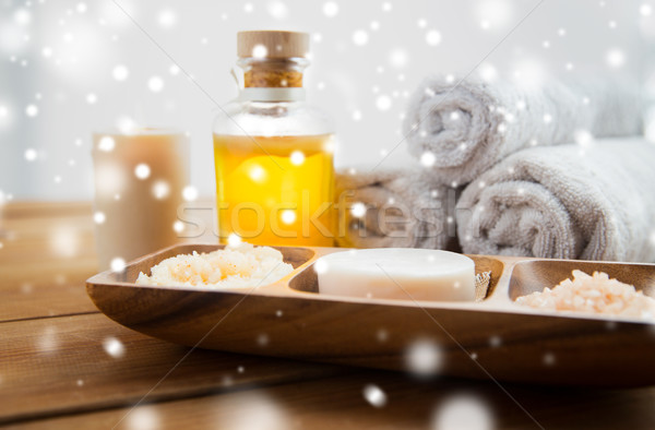 soap, himalayan salt, massage oil and body scrub Stock photo © dolgachov