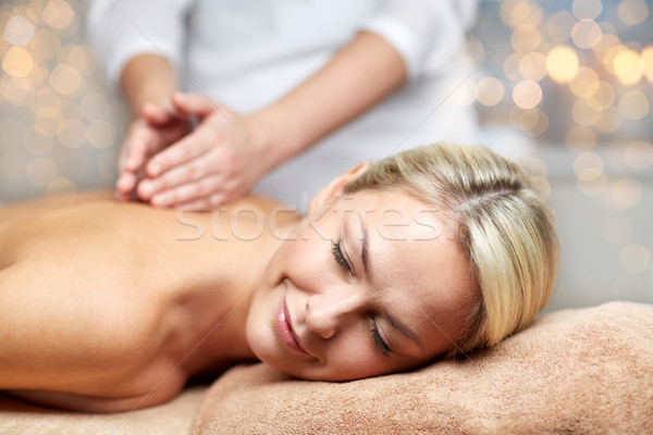 Femme massage spa personnes salon de beauté Photo stock © dolgachov