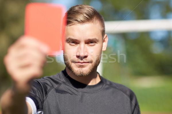 Döntőbíró futballpálya mutat piros kártya sport Stock fotó © dolgachov