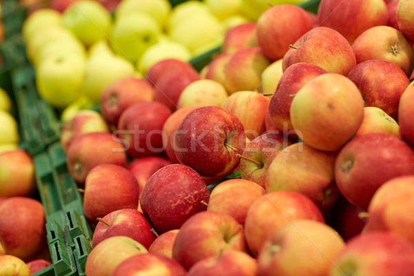 ripe apples at grocery store or market Stock photo © dolgachov
