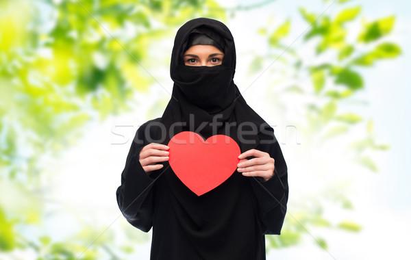 мусульманских женщину хиджабе красный сердце Сток-фото © dolgachov