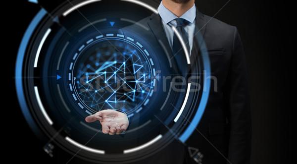 Empresario virtual proyección negro negocios futuro Foto stock © dolgachov