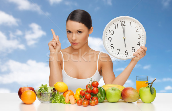 woman with food and big clock sitting at table Stock photo © dolgachov