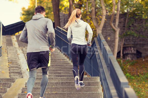 пару работает наверх город парка фитнес Сток-фото © dolgachov