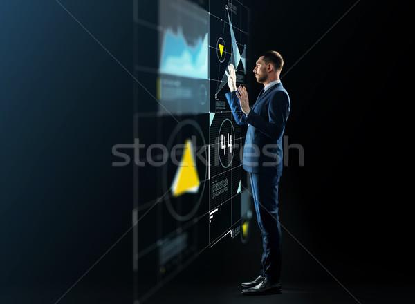 ビジネスマン 作業 バーチャル 投影 ビジネスの方々  技術 ストックフォト © dolgachov