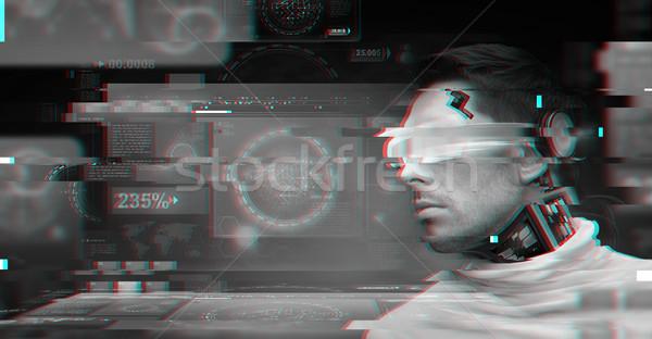Stockfoto: Man · futuristische · bril · mensen · technologie · cyberspace
