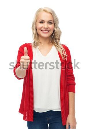 Mutlu gülen genç kadın jest Stok fotoğraf © dolgachov