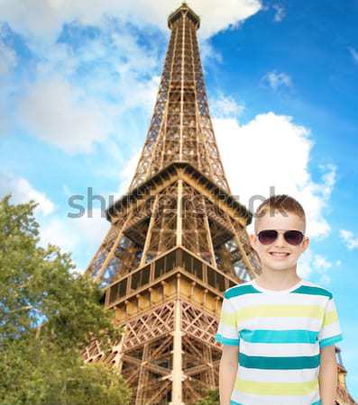 happy woman with air balloons over eiffel tower Stock photo © dolgachov