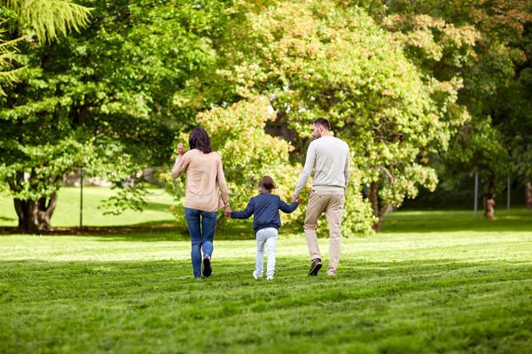 Família feliz caminhada verão parque família Foto stock © dolgachov