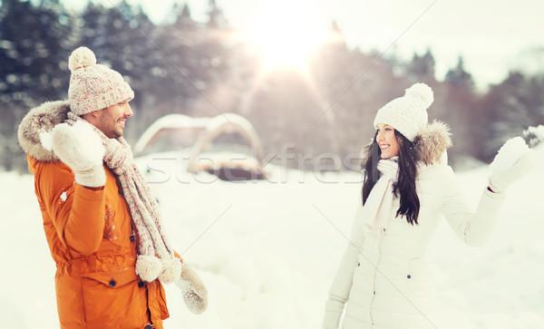 幸せ カップル 演奏 冬 人 シーズン ストックフォト © dolgachov