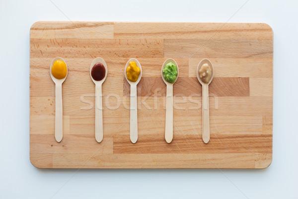 Vegetal fruto alimentos para bebês colheres alimentação saudável nutrição Foto stock © dolgachov