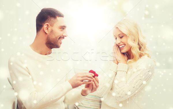 男 女性 婚約指輪 クリスマス 愛 カップル ストックフォト © dolgachov