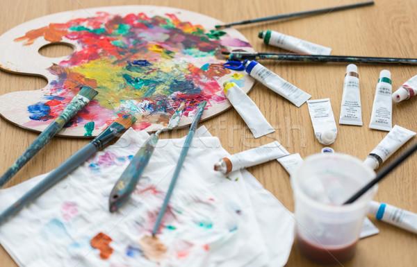 палитра краской Трубы таблице креативность Сток-фото © dolgachov