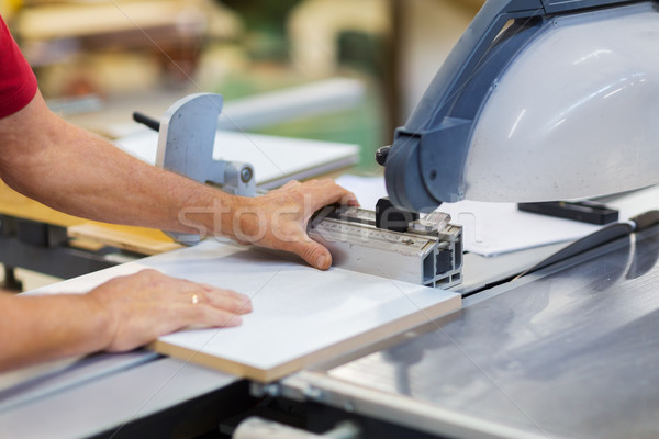 carpenter with panel saw and fibreboard at factory Stock photo © dolgachov