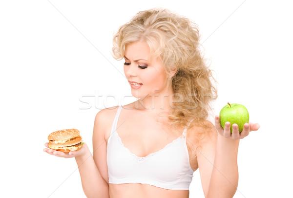 Stok fotoğraf: Kadın · Burger · elma · genç · güzel · bir · kadın