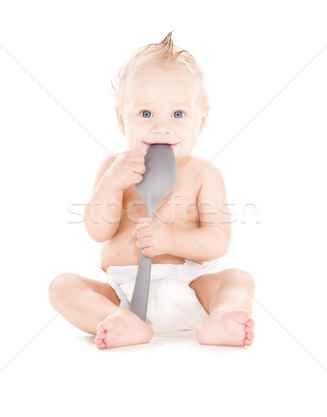 Baba fiú nagy kanál kép fehér Stock fotó © dolgachov