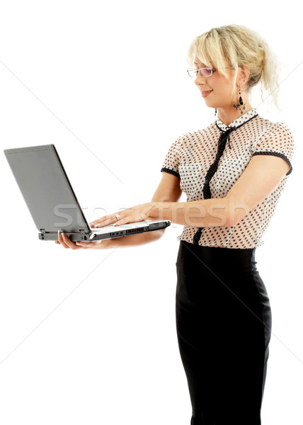 portrait or energetic businesswoman with laptop Stock photo © dolgachov