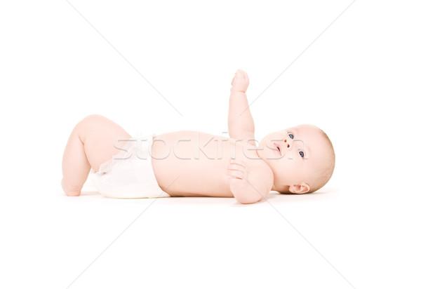 Bebé nino pañal Foto blanco Foto stock © dolgachov