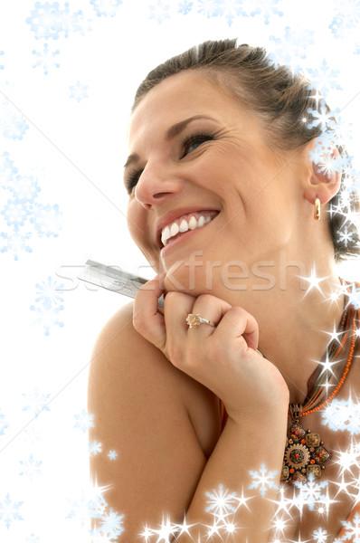 happy consumer with snowflakes Stock photo © dolgachov