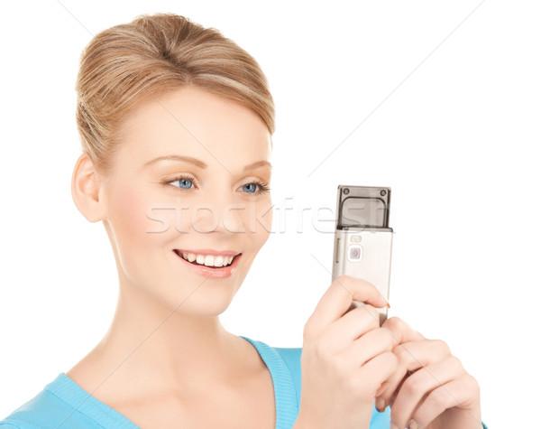 女性 携帯電話 画像 笑顔の女性 電話 インターネット ストックフォト © dolgachov
