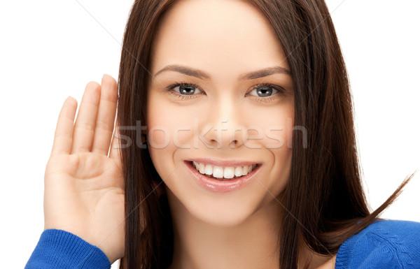 Szczęśliwy kobieta słuchania plotka jasne zdjęcie Zdjęcia stock © dolgachov