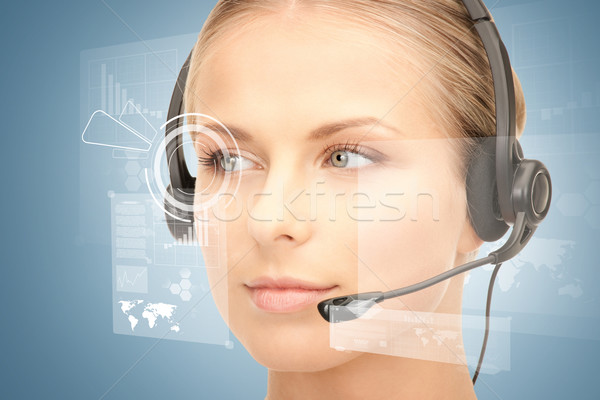 futuristic female helpline operator Stock photo © dolgachov