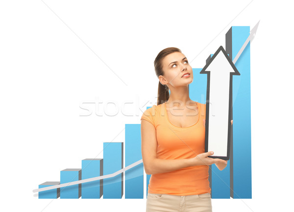 woman with rising graph and arrow directing up Stock photo © dolgachov