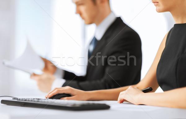 business team on meeting using computer Stock photo © dolgachov