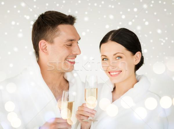 Stock fotó: Pár · fürdő · egészség · szépség · ünneplés · italok