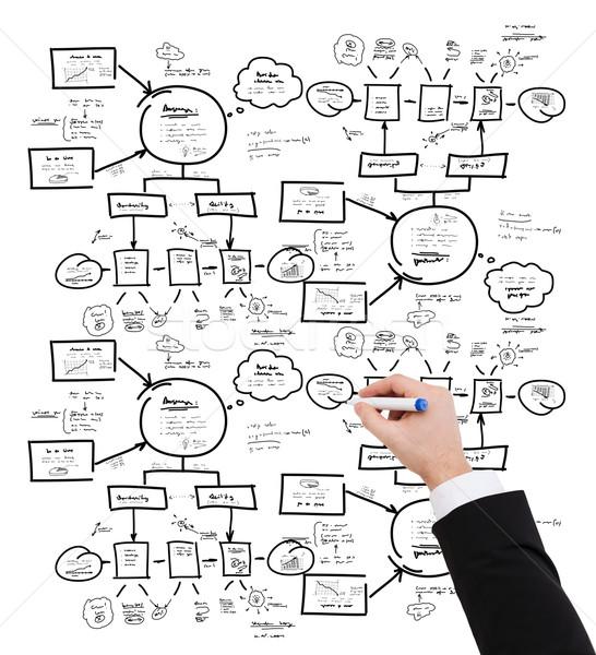 closeup of businessman hand drawing scheme Stock photo © dolgachov