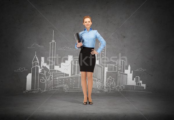 Photo stock: Souriant · femme · d'affaires · dossier · affaires · bureau · jeunes