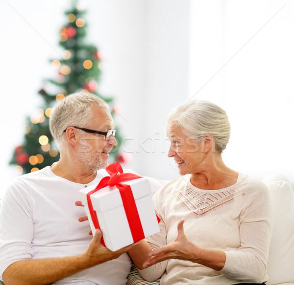 Gelukkig geschenkdoos home familie vakantie Stockfoto © dolgachov