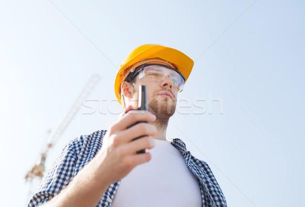 építész munkavédelmi sisak rádió üzlet épület technológia Stock fotó © dolgachov