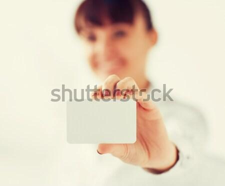 女性実業家 ブランクカード ビジネス オフィス 広告 ストックフォト © dolgachov
