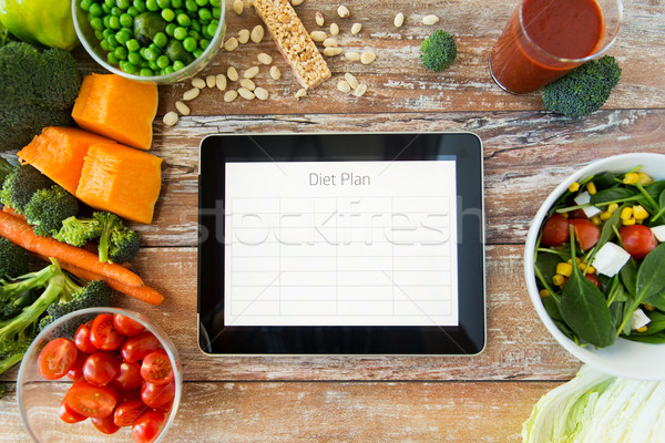 close up of diet plan on tablet pc and vegetables Stock photo © dolgachov