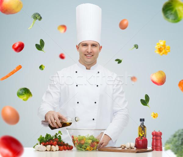 幸せ 男性 シェフ 調理 料理 食品 ストックフォト © dolgachov