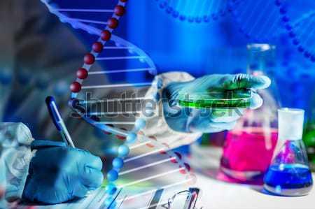 Közelkép tudós arc vegyi labor tudomány Stock fotó © dolgachov