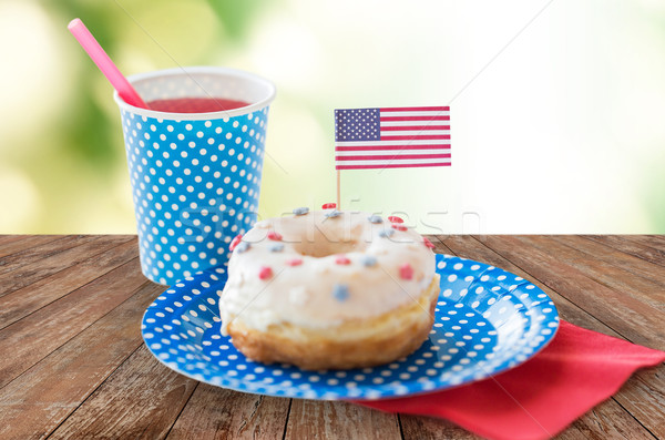donut with juice and american flag decoration Stock photo © dolgachov