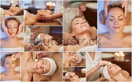 beautiful young woman relaxing at luxury spa Stock photo © dolgachov