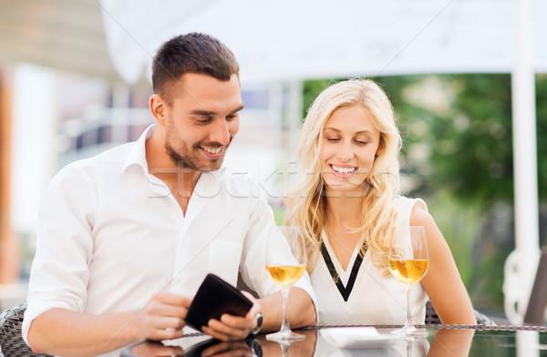Mutlu çift cüzdan fatura restoran tarih Stok fotoğraf © dolgachov