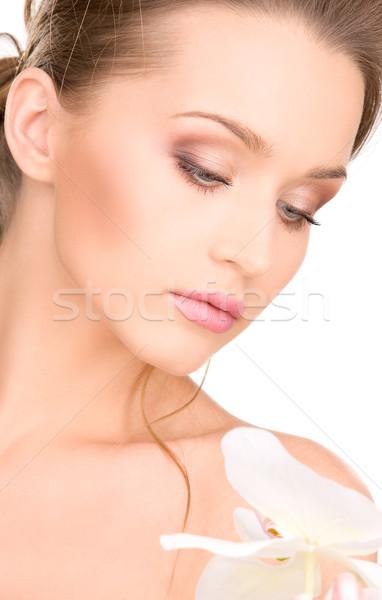 Bella donna fiore bianco foto donna ragazza sexy Foto d'archivio © dolgachov