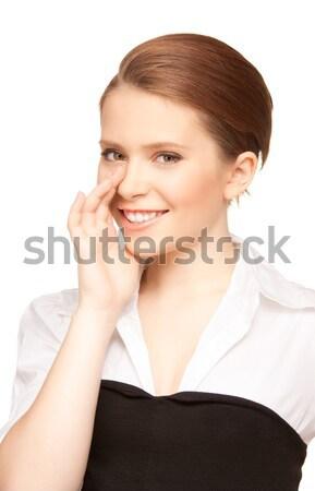 Pettegolezzi luminoso foto donna Foto d'archivio © dolgachov