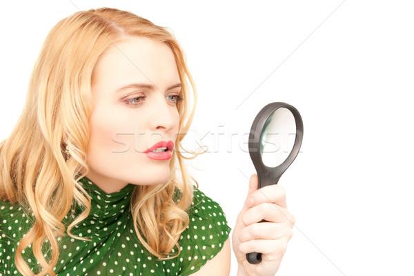 Stockfoto: Vrouw · vergrootglas · foto · gezicht · studie · witte