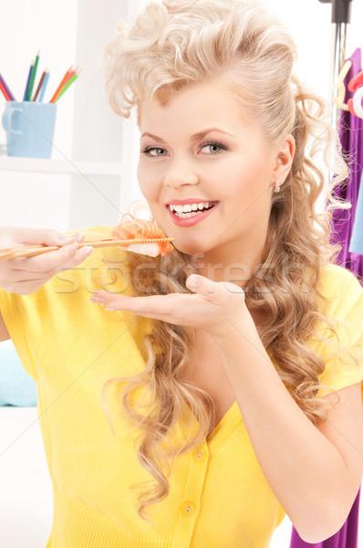 Foto stock: Mulher · alimentação · sushi · brilhante · quadro · quarto