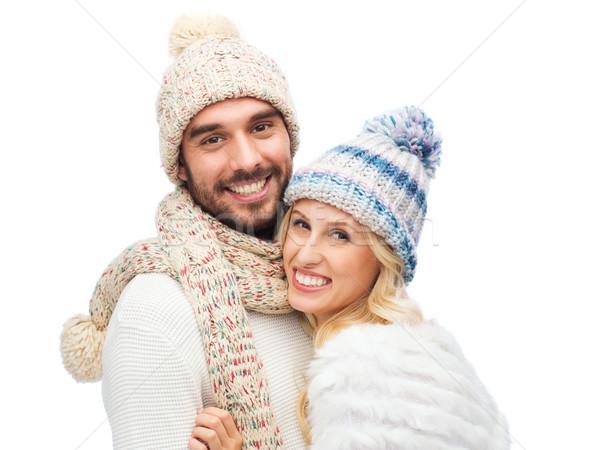 Glimlachend paar winter kleding mode Stockfoto © dolgachov