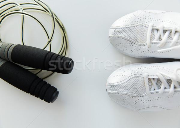 Közelkép sportcipők kötél sport fitnessz egészséges életmód Stock fotó © dolgachov