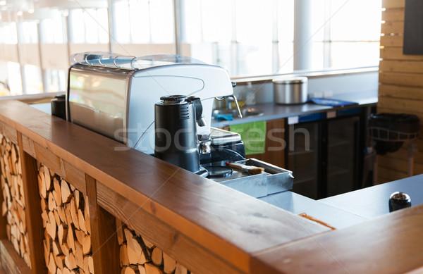 close up of coffee machine at bar or restaurant Stock photo © dolgachov