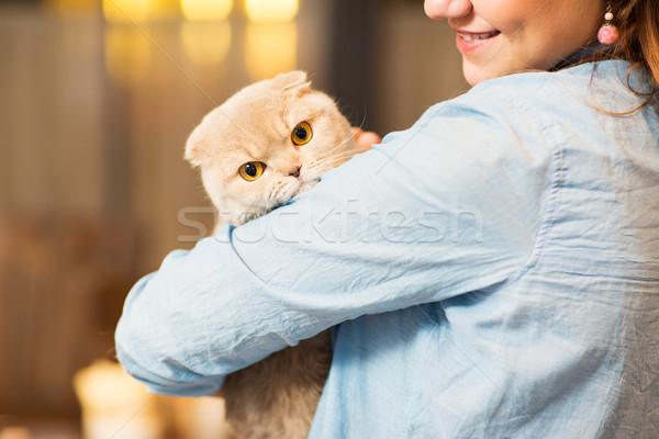 happy woman holding scottish fold cat at home Stock photo © dolgachov