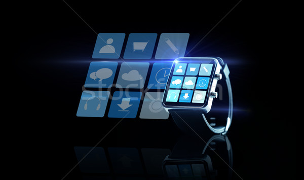 close up of black smartwatch with app icons Stock photo © dolgachov